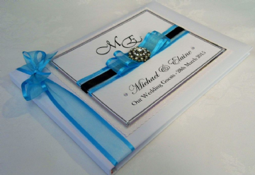 Personalised Wedding Guest Book - Aqua Blue